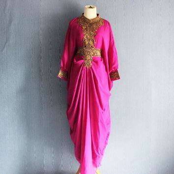 Moroccan Dubai Caftan, Floral Embroidery Dress , Pink Caftan Ethnic Dress with lining, Kaftan Maxi Dress , Baby Shower Maternity Dress