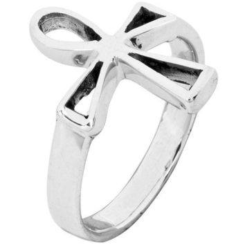 PEAPGQ9 Cutout Ankh .925 Sterling Silver Ring