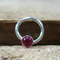 Septum Ring Sterling Silver Gemstone Ruby