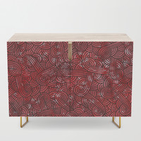 Red and black swirls doodles Credenza by savousepate