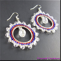 Crystal Hoop Seed Bead Earrings Beadwork in Red White and Blue