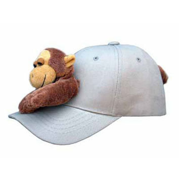 Monkey on Khaki Baseball Cap