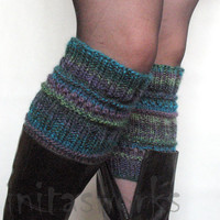 SALE Boot Cuff Boot Toppers Leg Warmers Striped Violet Purple Blue Burgundy Green Gray Boot Socks Knit Legwarmers Cable Knitted