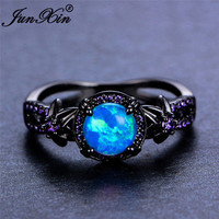 Women Blue Fire Opal Star Flower Amethyst Ring Black Gold Wedding Band Size 6-10