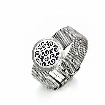 EVERLEAD Round 2-toned Gold & Silver Old World Cross (30mm) with Stainless Steel Metal Mesh Bangle Aromatherapy / Essential Oils Diffuser Locket Bracelet