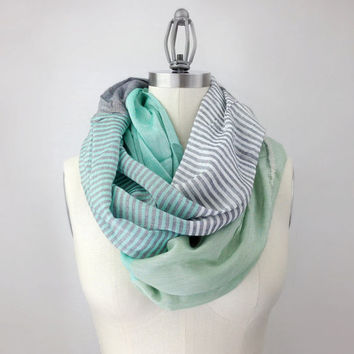 MINT green infinity scarf, MORE COLORS, color block,  silky feel, extra chunky lightweight mint scarf