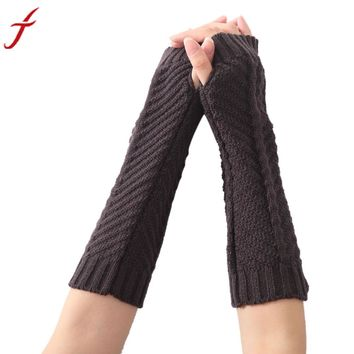 Knitted Arm Sleeve Fingerless Gloves Soft Warm