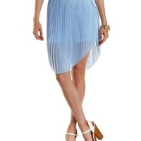 Lt Blue Curved Hem Pleated Chiffon Skirt by Charlotte Russe