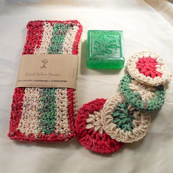 Bath Gift Set, Christmas, Holiday Set, Face Scrubbies, Washcloth, Olive Oil Soap