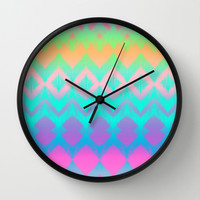 Rainbow Ikat Wall Clock by micklyn | Society6