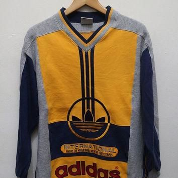 15% OFF Vintage ADIDAS Color Block Pullover Sweater Sweatshirt Gray + Yellow + Red Siz