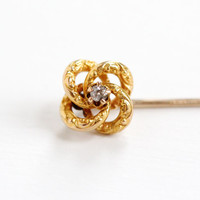 Antique 10k & 18k Yellow Gold Diamond Victorian Love Knot Stick Pin - Vintage Late 1800s Fine Jewelry, Everlasting Love