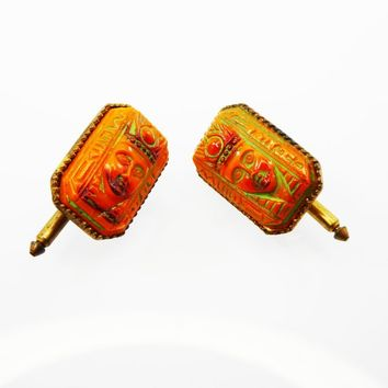 Egyptian Revival Cuff Links, King Tut Art Deco Era Mens Jewelry,  Autumn Orange and Green Molded Glass Cufflinks, Vintage 1920s Collectible