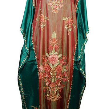 Mogul Womens Kaftan Cover Up Double Shaded Silk Floral Embroidery Kashmiri Caftan Maxi Dress (Red-Blue): Amazon.ca: Clothing & Accessories