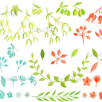 Hand painted watercolor clipart -  mistletoe, olive, blue and orange flowers and berries printable for greeting cards invitations