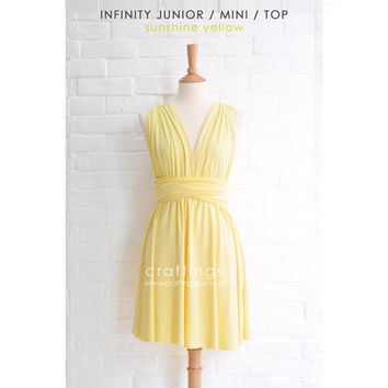 Junior / Mini Bridesmaid Dress Infinity Dress Sunshine Yellow Convertible Dress Multiway Wrap Dress