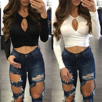 DCCK6HW Fashion Solid Color V-Neck Hollow Long Sleeve T-shirt Crop Tops