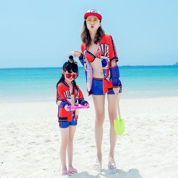 Family Swimwear Mother and daughter swimsuit Bikini 3 Pieces Beach Shorts Parent-child Swimwear Beach Wear Bathing suit