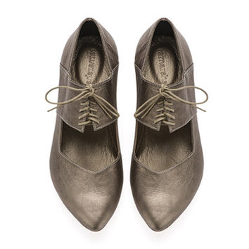 New! Vicky, Bronze shoes, Flats, Leather Shoes