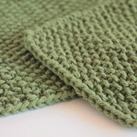 hand knit sage green dishcloth and scrubbie set