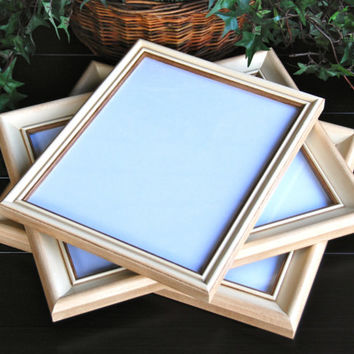 Shabby chic photo frames: Set of 3 vintage antique ivory & mocha brown hand-painted wood wall collage gallery picture frames