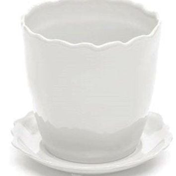 "Deroma 5700602B Ceramic Kaula Bud Planter with Saucer 5.1"", White"