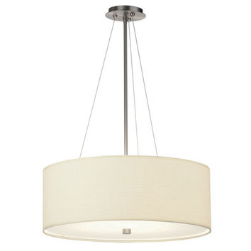 Philips BKIT-F43036-F431 Taylor Three-Light Satin Nickel Drum Pendant w/ White Grasscloth Shade
