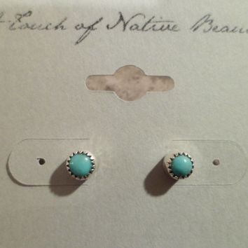 Authentic Navajo,Native American,Southwestern sterling silver turquoise stud earrings