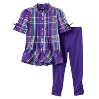 Chaps Plaid Ruffle Tunic & Ruched Leggings Set - Toddler