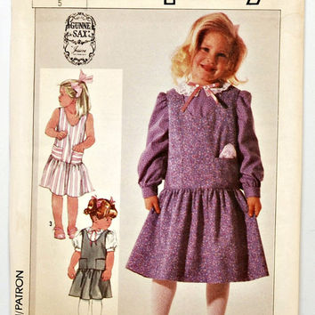 Simplicity 7725 Jessica Gunne Sax (c.1986) Little Girl's Size 5, Adorable Dress Pattern in 3 Styles, Retro Cuteness, Vintage Girl's Jumper