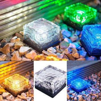 Solar Power LED Light Outdoor Waterproof Ground Crystal Glass Ice Brick Lawn Yard Deck Road Path Garden Decoration Security Lamp