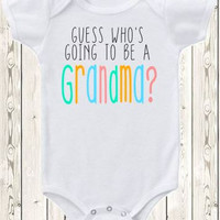 Pregnancy announcement idea for grandma Onesuit / pregnancy reveal idea for grandma or grandparents /  Guess who's going to be a grandma