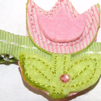 Pink and green tulip hair clip- flower accessories- felt clippie