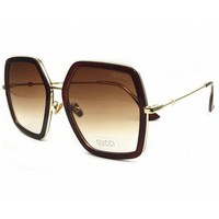 Gucci Women Fashion Summer Sun Shades Eyeglasses Glasses Sunglasses Coffee