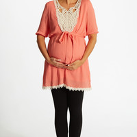 Coral Linen Lace Accent Sash Tie Maternity Top