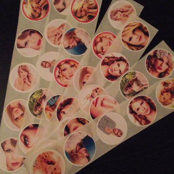 TAYLOR SWIFT Stickers / Party Favors / Envelope Seals - Set of 12 - Children's Birthday Party Supplies