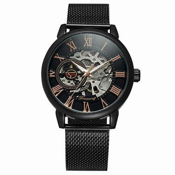 Mechanical Watches Skeleton Men's Watch Top Brand Luxury Gold Black Fashion Design Male Clock Vintage Mesh Net Band