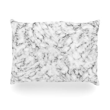 "Will Wild ""Marble"" White Gray Oblong Pillow"