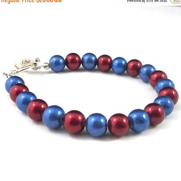 Royal Blue and Cranberry Red Glitter Pearl Bracelet