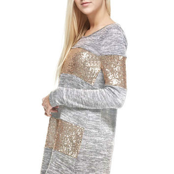 Sequined Dress - Light  Grey