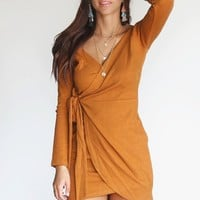 Love Survives Long Sleeve Mustard Wrap Dress