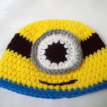 Crochet Minion Baby Hat, Boy or Girl Minion Hat, Photo Prop, 6 Month,