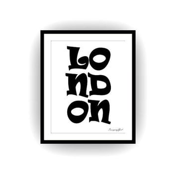 London City, Minimalist Printable room decor, wall art decoration, home decors, word decals, England decors, typography large poster fashion