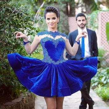 Cocktail Dresses Homecoming Royal Blue Velvet Beaded Short Sheer High Neck Long Sleeves vestidos de fiesta Dress