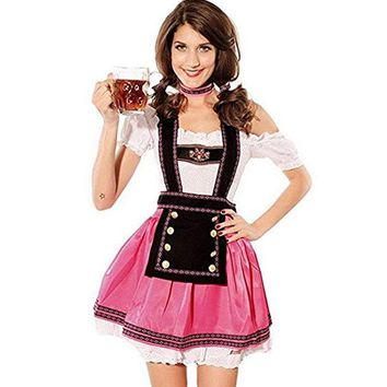 Cool TITIVATE Fashion Oktoberfest Beer Girl Costume Cosplay Maid Wench Germany Bavarian Short Sleeve Fancy Dress Dirndl For WomenAT_93_12