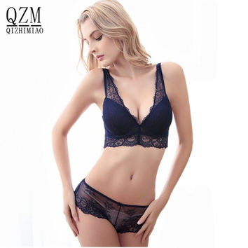 Hot Sale Fashion Sexy Bra Set lingerie victoria women's lace sexy underwear pack abdominal curl cheeky panty bra Clothing set