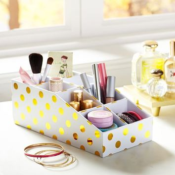 Jane Beauty Collection, 8 Compartment Organizer, Gold Dot