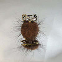 Vintage Owl Ring. Mink. Rhinestones.  Adjustable.