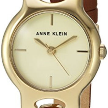 Anne Klein Women's Quartz Metal and Leather Dress Watch, Color:Brown (Model: AK/2630CHBN)