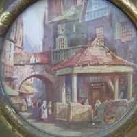 Vintage Round Framed Old World Print--Tarnish Patina Goldtone Frame--Shabby Village Scene--European--Cottage Chic--Wall Art--Retro--England
